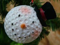 Homemade Christmas Ornaments & Snowmen | New Snowman Golf Ball Top Hat Christmas Tree Ornament | eBay