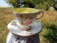 Vintage Teacup Tea Cup and Saucer floral English by Holliezhobbiez, $14.99
