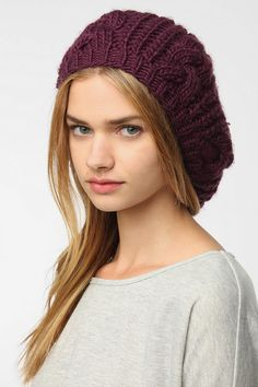 BDG Cable Knit Beret I've been making some similar to these.  My girls love them
