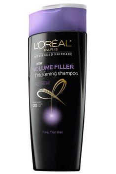 """Like a push-up bra for limp hair,"" L'ORÉAL PARIS Advanced Haircare Volume Filler Thickening Shampoo increases the diameter of each hair follicle."
