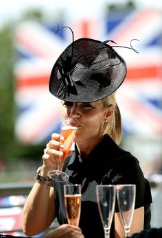 Racegoers have started enjoying refreshments as Ascot enters its final day, with spectators pictured sipping sparkling wine in the summer heat