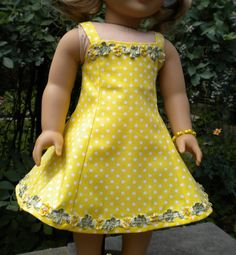Yellow Sundress Set for American Girl or other by mydollyscloset1