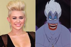 Miley Cyrus + Ursula - Celeb Look-Alikes
