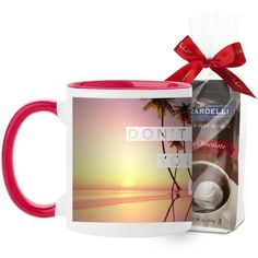 Chase Your Dreams Mug, Red, with Ghirardelli Premium Hot Cocoa, 11 oz, White