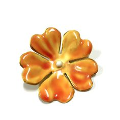Vintage Signed SANDOR Orange & Yellow Enamel Hibiscus Flower Brooch Pin EE118e  Available for purchase at Dellagraces Vintage Jewelry #Sandor