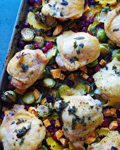 Roasted chicken with cranberries and winter vegetables- whole 30
