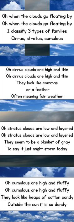 Awesome song to teach different types of clouds- free song cards with photos