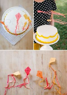 Tutorial: Mini Kite Cake Toppers | Oh Happy Day! ... Look at them blowing in the wind--too stinkin' cute! We could do mini red-white-blue wind socks for the same effect.