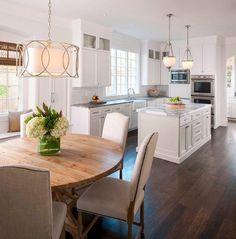 Classic White Kitchen - traditional - Kitchen - Cleveland - House of L Interior Design Kitchen Redo, New Kitchen, Kitchen Cabinets, Kitchen Ideas, Glass Cabinets, Kitchen Photos, Island Kitchen, Kitchen Inspiration, Oak Cabinets