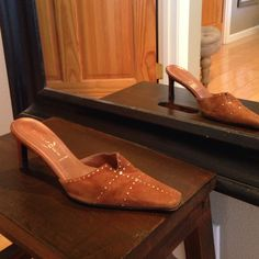 Casadei slides Casadei suede rust colored mules with heel. Gold studded Casadei Shoes