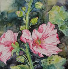 hollyhock flowers watercolor painting on gessoed board  original small format