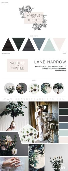 Beautiful rustic and vintage branding designed for the edgy florist. This board is rich with unique wedding looks, romance, mystery, moodiness, eucalyptus, roses, and wild flowers. The cool color collection of emerald and blue hues, dusty blues, and accents of blush pink make for a subtle coolness with a pinch of warmth. Emits a cozy, rustic, chic vibe. Professional Business Branding by Designer Laine Napoli. Web Design, Logo, Mood Board, Brand Boards, and more.