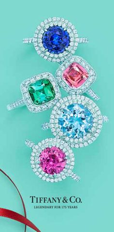 tiffany colored gem halo rings