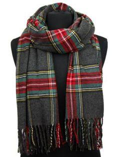 Achillea-Oversized-Tartan-Plaid-Cashmere-Feel-Scarf-Shawl-Wrap-80-x-29-Grey