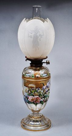 A 19TH CENTURY CUT GLASS OIL LAMP, hand painted with a wading stork, insects and flowers, together with an associated Aesthetic Movement frosted glass shade in the manner of Walter Crane, decorated with dancing maidens and peacocks, 55.5cm high overall Sold for £350