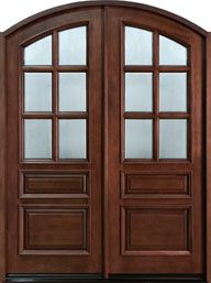 Arched Double Front Doors 8 foot tall, mahogany tiffany arch top double wood entry door