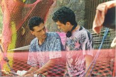 India, GOA, Bardez, Anjuna party - Rod and Valter behind a consolle.  Probably 1993/94 season