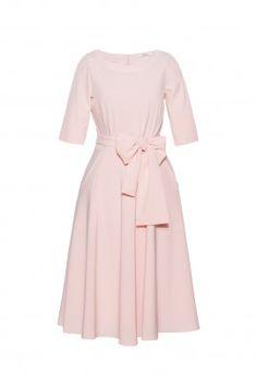 Sukienka BALLADA z kokardą pudrowy róż