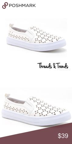 Slip On Loafer Sneakers Biggest trend of the season. Laser patterned slip on loafer sneakers. Color white with thick upper sole. Perfect for a casual spring/summer wardrobe. Threads & Trends Shoes Sneakers