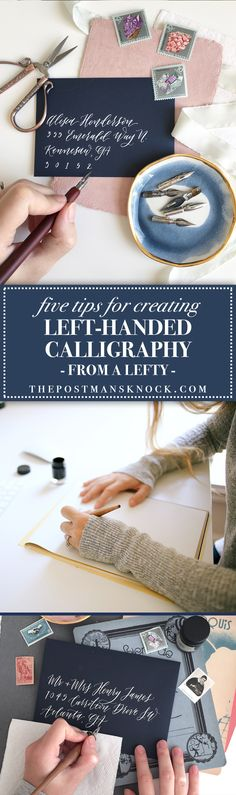 Tips to conquer left-handed calligraphy! Lefties can definitely write calligraphy, too ... and you may be surprised to find that you're at a natural advantage for making a right-leaning slant. :)