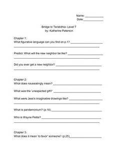 Bridge to Terabithia (Level T) Readers workshop discussion packet.  Questions for large or small group discussion include comprehension, vocabulary, and common core skills such as figurative language and comparisons.