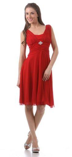 Red Bridesmaid Dress Knee Length Chiffon Matt Jersey Empire Waist