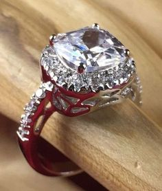 3 ctw Zircon Rhodium Gold Plated Halo Engagement Ring | R2350|We combine shipping|No Question Refunds|Bid $60 for free shipping. Starting at $1