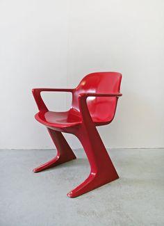 Vintage Ruby Red Ernst Moeckl Kangaroo Armchair by WestEstShop