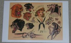 US NAVY PANTHER TATTOO FLASH PRINT SAILOR JERRY 2Y GIRL for sale