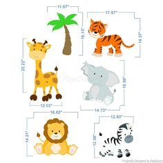 Just Peel And Stick Wall Stickers Animals Stickers Kids Bedroom Wall Decors  Children Wall Decals   Animals   Prt0074 Part 98