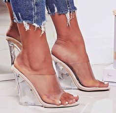 Clear High Heel Wedge Slide Mules Transparent Nude Lucite Open Toe Sandals Shoes in Clothing, Shoes & Accessories, Women's Shoes, Heels Cute Sandals, Cute Shoes, Me Too Shoes, Hot High Heels, Wedge Sandals, Heeled Sandals, Shoe Boots, Shoes Heels, Celebrity Shoes