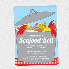 Seafood Boil, Clam Lobster Crab Bake Invitation, Summer, Birthday, BYOB,  Printable DIY digital file
