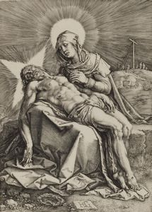 The Lamentation of the Virgin, Hendrick Goltzius, 1596, engraving, 7 5/16 in. x 5 1/16 in. Currier Museum of Art.