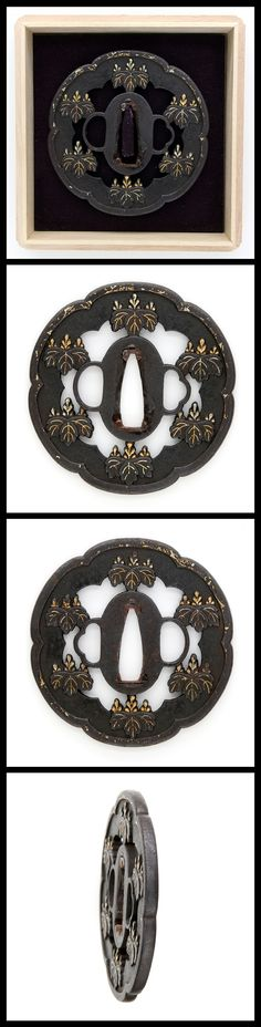 Edo Hollyhock crests carved, engraved with gold color on Kawari style iron Tsuba.