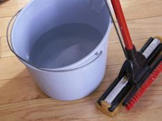 Easy, All-Natural Hardwood Floor Cleaner:  Two ingredients, no harsh chemical or perfume-y smell.