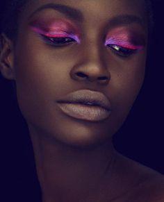 Makeup for African American women, brown skin makeup, pink eyeshadow, purple eyeshadow, brown skin tone lipstick.