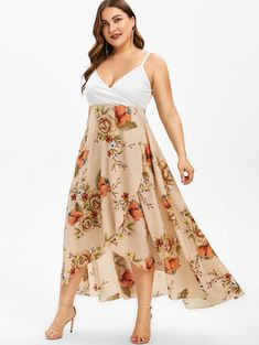 Plus Size Summer Floral Print Overlap Slip Dress Spaghetti Strap Beach Boho Dress Women Casual ALine Dress Vestidos Size L Color Multi Cheap Dresses, Casual Dresses, Streetwear, Chiffon, Two Piece Dress, Asymmetrical Dress, Plus Size Dresses, Dress To Impress, Floral Prints