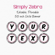 Hot Pink and Zebra Banner Birthday Party by PrintCreateCelebrate, $6.50
