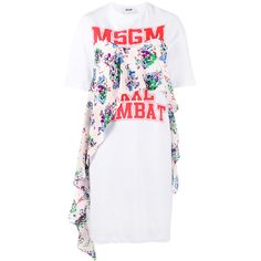 MSGM logo print T-shirt dress (£315) ❤ liked on Polyvore featuring dresses, white, white dress, floral dresses, ruffled dresses, short sleeve t shirt dress and print dresses