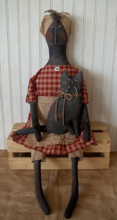 Primitive Grungy Mammy Doll with Her Black Kitty Cat #NaivePrimitive