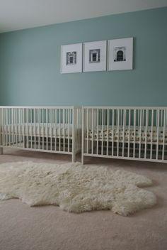 Twin nursery - Want more colourful crib sheets  Ikea Gulliver cribs