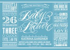 """I like the font that the phrase, """" Baby Shower"""" is in and really helps the phrase stand out. However, I think the used of so many fonts in one invitation make it look really busy."""