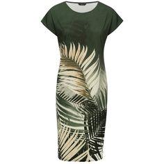 M&Co Tropical Leaf Print Tunic Dress (1.260 RUB) ❤ liked on Polyvore featuring dresses, khaki, leaf dress, green short sleeve dress, khaki green dress, khaki summer dress and khaki dress