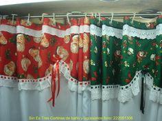 cortinas navideñas - Google keresés: Christmas Bathroom, Window Dressings, Curtain Designs, Diy Curtains, Christmas Projects, Christmas Ideas, Holidays And Events, Sewing Hacks, Sewing Patterns