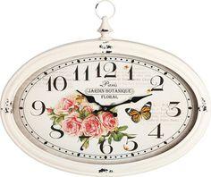 Lassen Sie sich mit dieser Wanduhr von LANDSCAPE in das Retro-Zeitalter zurückversetzen und verlieren Sie dabei nie die Zeit aus den Augen. Die hübschen Rosenverzierungen und die ovale Form verleihen der Uhr einen besonderen Charme.