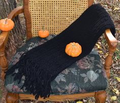 Crochet Neck Scarf, Soft, Warm, and Bulky, Black, Unisex, Long With Fringe,  Winter Wear, Great Gift Idea! by VeeSwan on Etsy