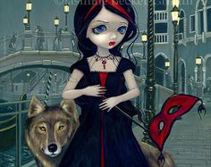 Wolves of Venice werewolf vampire fairy art print by Jasmine Becket-Griffith 8x10