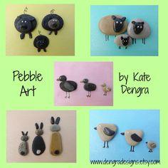 Easter themed pebble art or for child's nursery. Animal pebble art by Kate Dengra