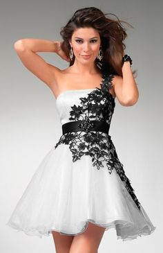 Chic Vintage Black and White Flocked Chiffon Party Dress . Jan Chic Vintage Black and White Flocked Chiffon Party DressBlack And White Lace Homecoming Dresses, Grad Dresses, Bridesmaid Dresses, Formal Dresses, Dress Prom, Mini Dresses, Evening Dresses, Dresses 2014, Bridal Dresses