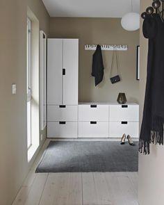 IVAR hack: one cabinet - five looks Stairs And Hallway Ideas, Ikea Hallway, Hallway Storage, Locker Storage, Entryway, Shoe Storage Design, Ivar Hack, Ikea Stuva, Norwegian House